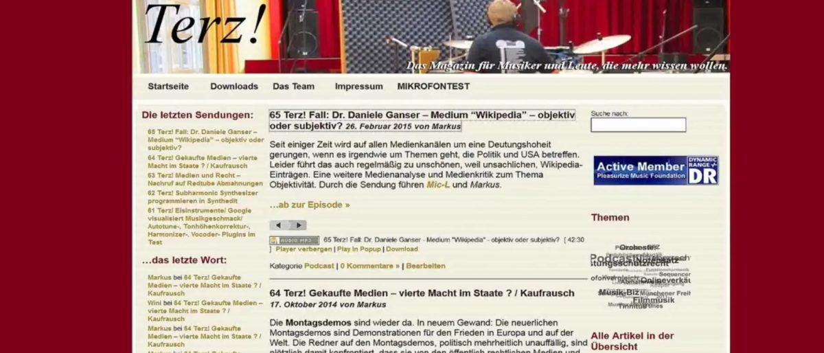 """Permalink auf:""""Dr. Daniele Ganser und Rufschädigung auf Wikipedia""""  – Sendung vom Terzmagazin #65"""